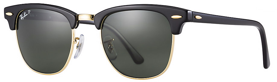 76dcfc184d Ray Ban Clubmaster Classic Black Green Polarized - Sunglasses People