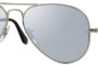 Ray Ban Aviator Matte Silver Silver Mirror Polarized