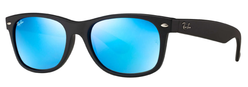4ec6b6b6d37 Ray Ban New Wayfarer Black Matte Blue Flash - Sunglasses People